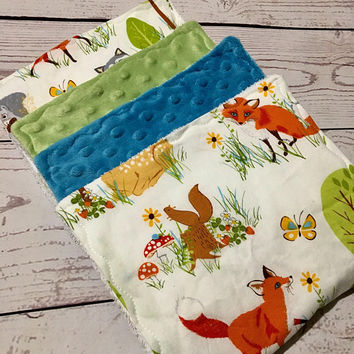 Baby Burp Cloths,Handmade Burp Pads,Forest Friends,Burp Cloth Sets,Baby Shower Gift,Baby Accessories,Baby and Child Care,Gifts,Burping Baby
