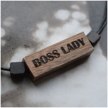 """BOSS LADY"" Wooden Beaded Necklace"