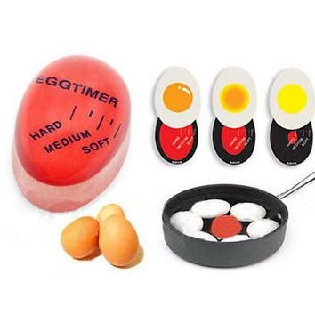 1pcs Egg Perfect Color Changing Timer Yummy Soft Hard Boiled Eggs Cooking Kitchen Eco-Friendly Resin Eggs Timer Red