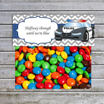 Treat Bag Toppers Candy Bag Toppers Favor Bags Toppers Printable Police Car Boy Baby Shower Birthday (cp1) Instant Download