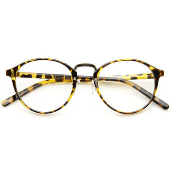 Retro Dapper Indie Fashion Clear Lens Round Glasse + Gift Box