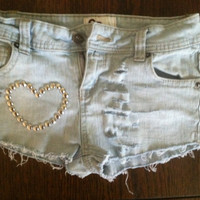 Cute Heart Distressed Jean Short by victoriapearson2 on Etsy