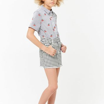 Girls Gingham Denim Skirt (Kids)