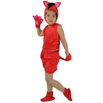PEAPON 2017 Fashion Children Short Red Fox Animal Costume Kids Stage Perfromance Cosplay Clothing Halloween Birthday Dress Supplies