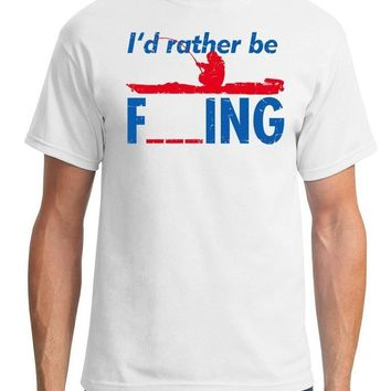 Rather Be Fishing Printed T-Shirts - Men's Crew Neck Novelty Top Tee