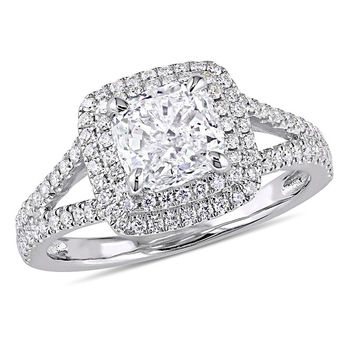 2 CT. T.W. Cushion-Cut Diamond Double Frame Engagement Ring in 14K White Gold|Zales