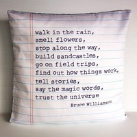 decorative pillow POEM cushion Organic cotton by mybeardedpigeon