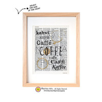 Coffee in the world dictionary print-Kitchen wall art-Coffee print-Coffee quote book page-Upcycled Vintage Dictionary art-by NATURA PICTA