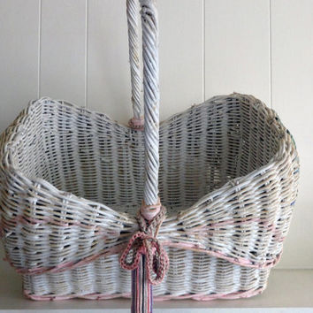 Vintage Wicker  Basket Large Painted Wedding Decor Flower girl Baby Shower