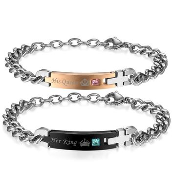 """SHIPS FROM USA Self Design Unique Gift For Lover """"His Queen""""""""Her King """" Couple Bracelets Stainless Steel Bracelets For Women Men"""