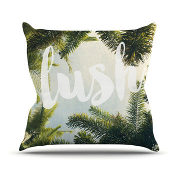 "Catherine McDonald ""Lush"" Nature Typography Outdoor Throw Pillow"