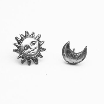 Sun and Moon Earrings in sterling silver