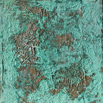 "Abstract Painting 8x8x0,6"" turquoise with gold leaf"