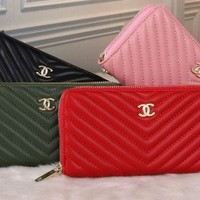 chanel 2017 Noble fashion twill leather Wallet [99386097679]