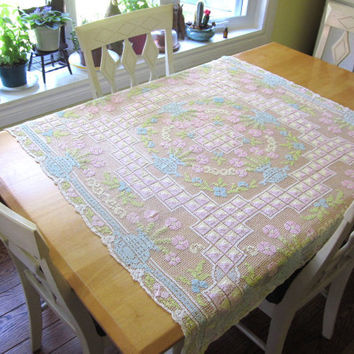 Vintage Handmade Crochet Doily, Tablecloth, Runner