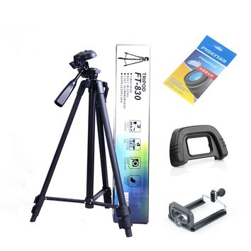 Portable Aluminum Telescopic Tripod FT830 Stand Holder for DSLR Camera Video + Lens Cleaning Paper + Phone Clip + Camera Eyecup