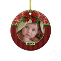 Baby's First Christmas Photo Frame Ornaments from Zazzle.com