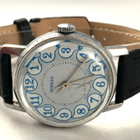 "Vintage Soviet men's watch called ""VICTORY""( Pobeda),lovely rare dial, comes with high quality new leather band!"