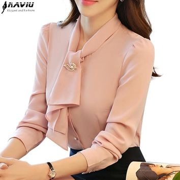 Fashion long sleeve women slim shirt white pink solid color elegant ruffles chiffon blouse office ladies formal plus size tops