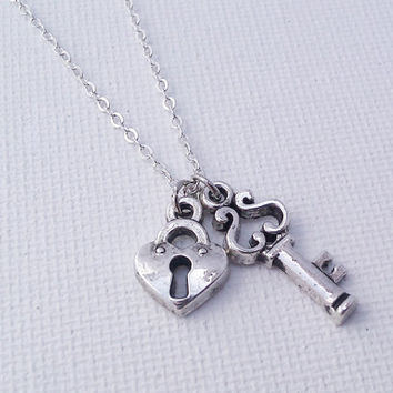 You Hold the Key to my Heart - Silver Love Necklace - Couples Necklace - You Have my Heart - I Love You Necklace - Key and Heart Lock