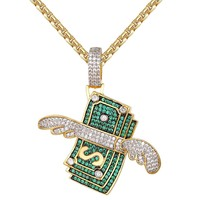 Men's Hip Hop  Green Dollar Stack with Wings Pendant