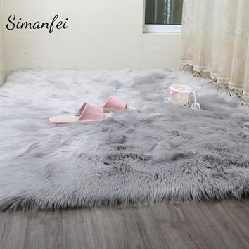 Simanfei Hairy Carpets New Sheepskin Plain Fur Skin Fluffy Bedroom Faux Mats Washable Artificial Textile Area Square Rugs