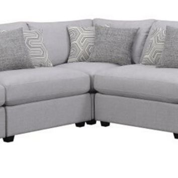 551221 5 pc Claude II collection grey linen like fabric upholstered modular sectional sofa