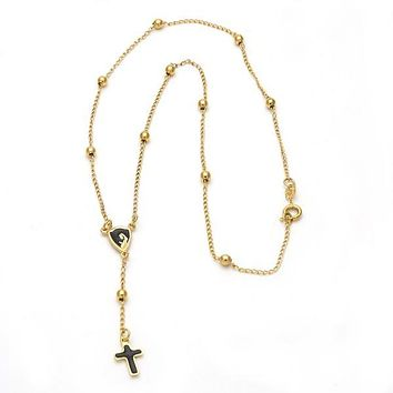 Gold Layered 5.212.010.18 Medium Rosary, Black Enamel Finish, Gold Tone