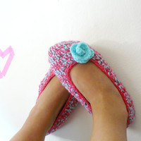 Crochet Slipper with fabric bag- custom made