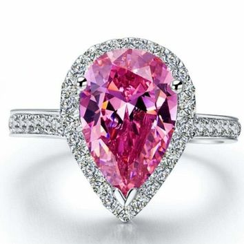 Natural Pink Pear Cut Sapphire Gemstone Ring White Topaz Accents Pink Pear Ring