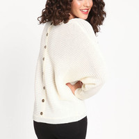 BUTTON BACK RIBBED KNIT SWEATER