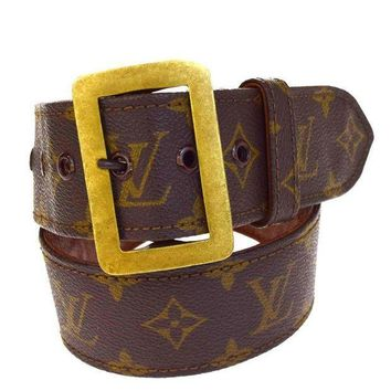 MDIG1O Authentic LOUIS VUITTON LV Buckle Belt Monogram Leather Brown #70 France 03B1478