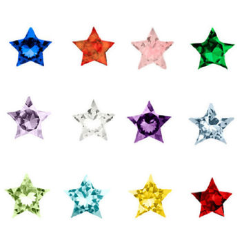 120pcs Hot Sale Star jewelry birthday Rhinestone Floating Star Crystal Birthstones  floating  charms   for glass lockets,WS-11-2