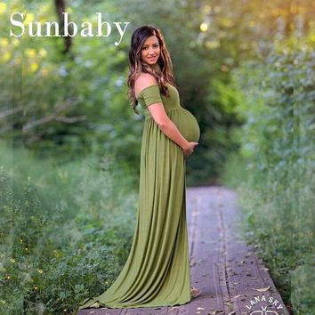 2017 Summer Fashion maternity clothes elegant vestidos shoulderless formal full dress photography clothes for pregnant women