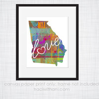 Georgia Love - GA Canvas Paper Print:  Grunge, Watercolor, Rustic, Whimsical, Colorful, Digital, Silhouette, Heart, State, United States