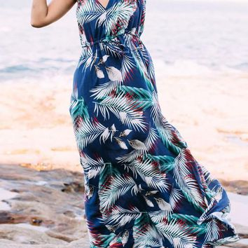 Dark Blue Floral Spaghetti Draped Plunging Neckline Bohemian Beach Homecoming Party Maxi Dress