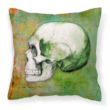 Day of the Dead Green Skull Fabric Decorative Pillow BB5122PW1414