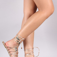 Metallic Lace Up Caged Flat Sandal