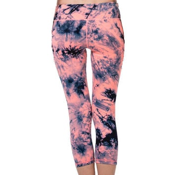 Women's Tie Dye Yoga Sports Capri 3/4 Length Leggings