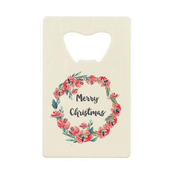 Merry Christmas Red Floral Watercolor Wreath Credit Card Bottle Opener