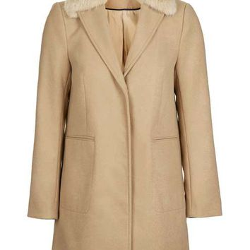 Fur Collar Boyfriend Coat - Clothing