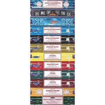 Set of 12 Nag Champa, Super Hit, Sandalwood, Patchouli, Mystic Rose, Vanilla, Prana, Natural, French Lavender, Opium, Egyptian Jasmine, Champa by Satya
