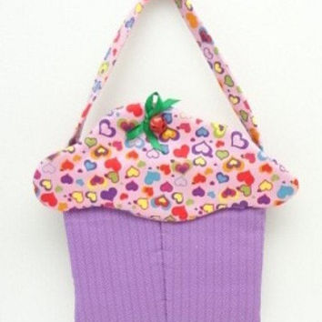cupcake purse fabric gift bag goodie sack friendship hearts cup134