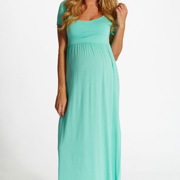Mint Green Solid Short Sleeve Maternity Maxi Dress