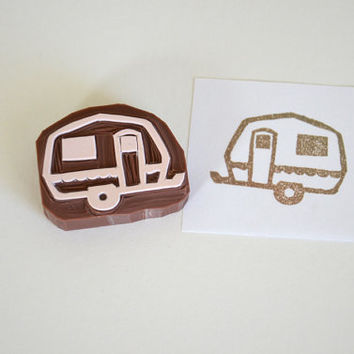Hand Carved Rubber Stamp / Caravan / Airstream Trailer