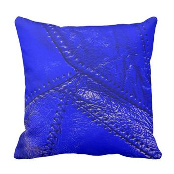"Cobolt blue, ""leather"" look throw pillow"