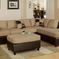 3 pc Hazelnut Microfiber sectional sofa with reversible chaise and Free ottoman