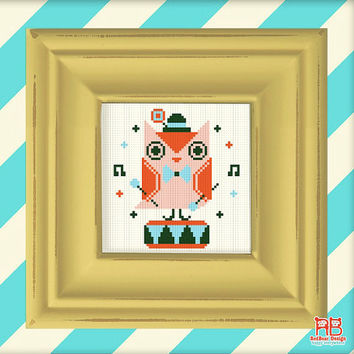 Cute Retro cross stitch pattern - Orange Owl Play Toy Drum -Xstitch Instant download- Happy Kawaii orange owl play music Woodland heart love