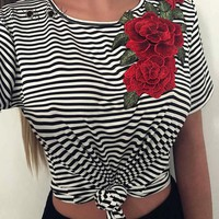 Striped Embroidery Rose Short Sleeves T-Shirt