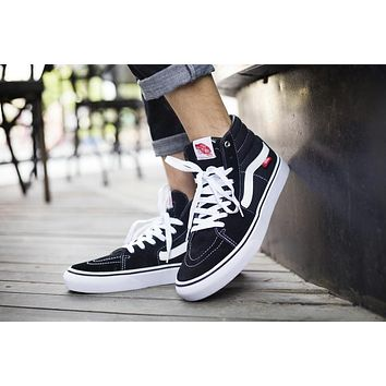 Best Deal Online Vans SK8-HI PRO White Black High Top Men Flats Shoes Canvas Sneakers